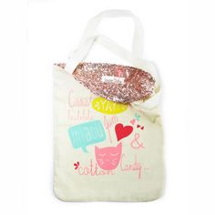 #Cotton Candy tote #bag with sequins | French Blossom