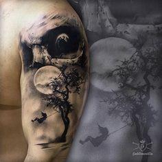 Eerie piece by by inkedmag Knee Tattoo, Leg Sleeve Tattoo, Best Sleeve Tattoos, Skull Tattoo Design, Tattoo Designs, Tattoo Studio, Realistic Tattoo Sleeve, Mayan Tattoos, Spooky Tattoos