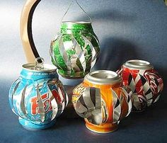 Soda can lanterns. Cute for a party.
