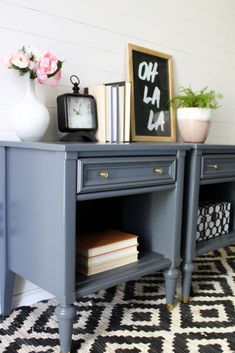 MCM Glam End Tables in Soapstone Team Sutton Designs Redo End Tables, Painted End Tables, Living Room End Tables, Refinished End Tables, Side Tables, Refurbished Furniture, Repurposed Furniture, Furniture Makeover, Painted Furniture