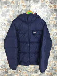 f445c412661cd1 TOMMY HILFIGER Puffer Jacket Small Vintage 90s Hip Hop Tommy Colorblock  Tommy Goose Down Trainer Blue Bomber Jacket Hoodie Size S