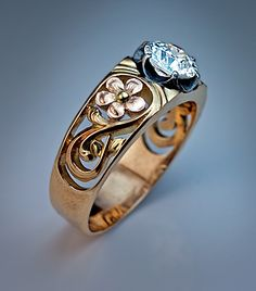 Art Nouveau Russian Diamond Solitaire Men's Ring | From a unique collection of vintage solitaire rings at http://www.1stdibs.com/jewelry/rings/solitaire-rings/