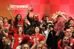 Ohio State fans celebrate the National Championship win at the official watch party in the Ohio Union Jan. 12. Credit: Yann Schreiber / Lantern reporter