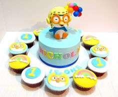 Kid party-- Pororo cake with cupcakes. MyCupKates by brendaq Fondant Toppers, Fondant Cakes, Cupcake Toppers, Birthday Party Appetizers, Boy Birthday Parties, Birthday Ideas, Penguin Cakes, First Birthday Cakes, Cute Cakes