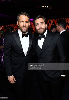 Actors Ryan Reynolds (L) and Jake Gyllenhaal attend The 2017 InStyle and Warner Bros. 73rd Annual Golden Globe Awards Post-Party at The Beverly Hilton Hotel on January 8, 2017 in Beverly Hills, California.
