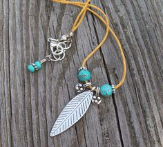 Summer Boho - Yellow Linen Cord Necklace with Feather Charm and Turquoise Howlite on Etsy, $22.00