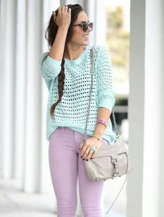 Spring outfit with purple jeans and blue sky sweater Moda Outfits, Trendy Outfits, Cute Outfits, Ropa Color Pastel, Pastel Colors, Purple Pants Outfit, Denim Outfit, Lavender Jeans, Lavender Outfit