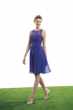 Classic Scoop Fitted Bodice A Line Above Knee Length Chiffon&Lace Dress