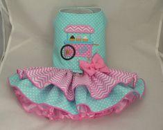Small dog harness dress. Tutu skirt. Ice Cream Cart by poshdog, $64.00