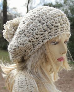 FREE Pattern: Basic Chunky Slouchy hat with Pom Pom