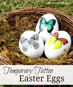 Decorate #Easter Eggs with Temporary Tattoos... So pretty and elegant!  #Easter