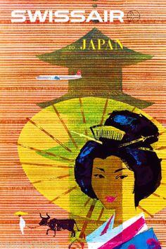 Japan-by-Airplane-Asia-Japanese-Geisha-Vintage-Travel-Advertisement-Art-Poster
