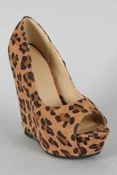 94ba5818940 Delicious Mars-S Leopard Open Toe Platform Wedge