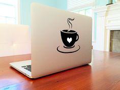 Coffee Mug Cup Love Heart Morning Warm Drink door StickerBrosDecals