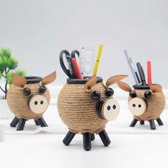 Pig Pen, Pen Holders, Office Gifts, Creative Design, Simple, Cute, Handmade, Study, Hand Made