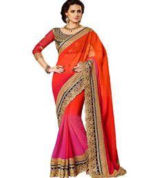 Buy Pink + Orange embroidered georgette saree party-wear-saree online