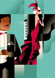 Piano poster for Club. Partially in response to the Gatsby phenomenon, Berg produced a series of extraordinary illustrated art deco posters. By using vintage and art deco elements Berg. Club Poster, Poster Art, Kunst Poster, Art Deco Posters, Vintage Posters, Retro Vintage, Art And Illustration, Illustrations, Arte Art Deco