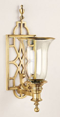 openwork brass hurricane candle sconce