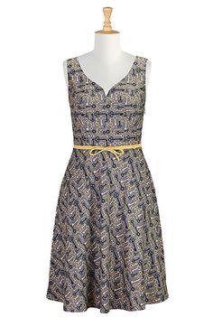 I <3 this Vintage key print sweetheart dress from eShakti