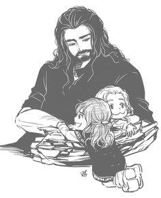 Thorin with tiny Fili and Kili. Oh the adorable.