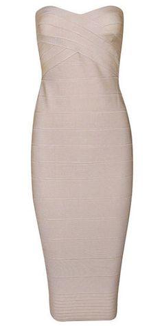 Savannah Beige Strapless Dress