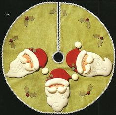 pie de arbol santas Christmas Crafts, Xmas, Christmas Tree, Tree Skirts, Table Runners, Lily, Quilts, Ornaments, Holiday Decor