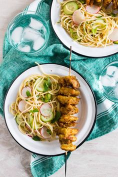 These chicken satay noodles give you all the flavor of takeout but in a homemade dish that will leave you feeling full and satisfied. Peanut butter marinated chicken skewers served with a homemade noodle salad Chicken Satay, Chicken Skewers, Marinated Chicken, Easy Chicken Recipes, Asian Recipes, Ethnic Recipes, Easy Recipes, Peanut Butter Chicken, Delicious Dinner Recipes
