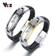 37e15495ae Customized Couple Bracelets for Women Men Genuine Real Leather Bangle  Stainless Steel Bar Casual Lovers Personalized