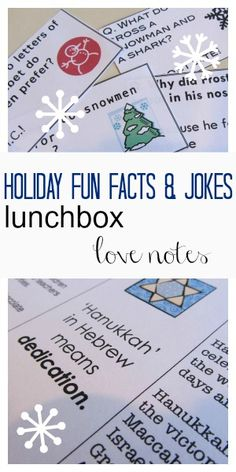 The holidays are nearing, and I love putting these lunchbox notes in my kids' school lunches. These lunchbox notes are holiday fun facts and jokes related to winter and the holidays! It's a fun activity for kids to do during their lunch break! Hanukkah For Kids, Christmas Hanukkah, Hannukah, Christmas Holidays, Christmas Jokes, Christmas Ideas, Fun Activities For Kids, Christmas Activities, Learning Activities