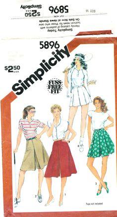 "Simplicity 5896, Culottes, Misses' size 16, Waist 30"", split skirt, skort, tennis, golf by MySewingChest on Etsy"
