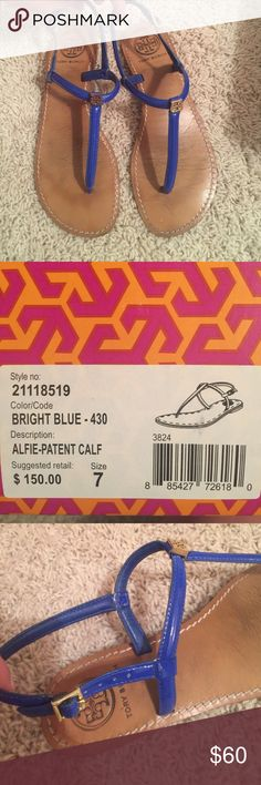 Tory Burch patent bright blue thong sandals. GUC. Bright blue. Comes with original box. Adjustable back strap. GUC Tory Burch Shoes Sandals