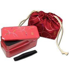 Red WAON Bento Box Set Square 2 tier Bento Box & Chopsticks & Bag