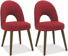 Bentley Designs Oslo Walnut Dining Chair - Red Fabric Upholstered (Pair)