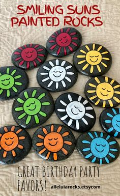 These painted stones have colorful smiling suns. They make great birthday party favors. Also great as a sorting and color matching activity. CLICK to learn more! #birthdayfavors #partyfavors #paintedrocks #rockpainting #sorting #matching #colormatching