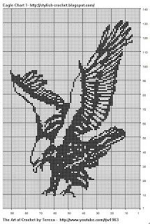 filet crochet patterns free | Free Filet Crochet Charts and Patterns: Filet Crochet Eagle - Chart 1