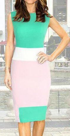 Scoop Sleeveless Contrast Color Pencil Knee-length Dress
