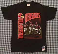 06df2af55 Vintage Washington Redskins Graphic T-Shirt Size Large Nutmeg Mills Black  NFL