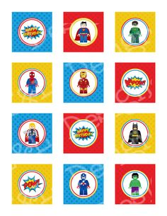 """Lego SuperHero Birthday 2"""" Cupcake Toppers and Wrappers, Superhero Birthday Party,Lego Party, Instant Download, Printable on Etsy, $4.00"""