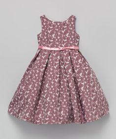 Look what I found on #zulily! Mauve & Rose Floral A-Line Dress - Toddler & Girls #zulilyfinds