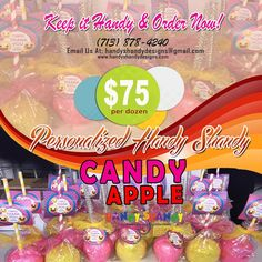 🍭🍭 Personalized Candy Apple!! 🍭 🍏 Keep It Handy and Order now for only $75 per dozen. Call (713) 878 – 4240 or Email handyshandydesigns@gmail.com for details!! 🍬🍬 #HandyCandy #CandyApple 🍭