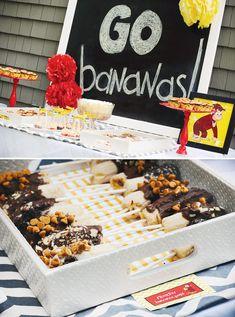 go bananas, chocolate-covered-banana-sticks for curious george theme party
