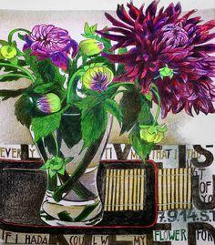 Натюрморты Светланы Франк - Россия.  Керамика, всякая красота и жизнь вокруг Artist Sketchbook, Love Painting, Colored Pencils, Pencil Drawings, Creative Art, Still Life, Artsy, Flower Paintings, Dahlias
