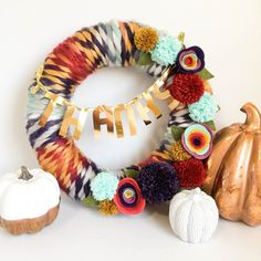 Thanksgiving Yarn Wreath by Tessa Buys for We R Memory Keepers, featuring the DIY Party Pom Pom Maker and the Mini Alphabet Punch Board. Thanksgiving Wreaths, Thanksgiving Decorations, Christmas Wreaths, Christmas Time, Holiday Decor, Burlap Wrapped Wreath, Diy Wreath, Wreath Ideas, Yarn Crafts