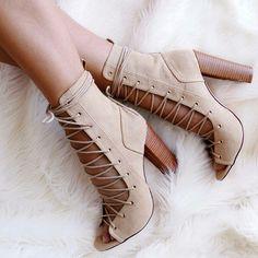 Beige Leg Wrap Lace up Chunky Heels