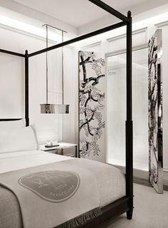 Stunning bedroom at Baccarat Hotel NYC.
