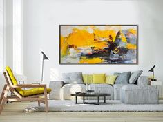 Palette Knife Painting, Original Horizontal Wall Art, Abstract Art Canvas Painting, Large Art. Yellow, gray - By Leo, Celine Ziang Art