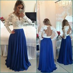 2016 Royal Blue And White Prom Dresses Plunge V Neck Beaded Lace Transparent Back Long Sleeves Chiffon Unique Evening Gowns