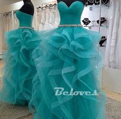 """Fabric:Tulle Color:Teal++ Neckline:+Sweetheart Embellishments:Layer+Skirt Back+Detail:Lace+Up Custom+Made+:+We+also+accept+custom+made+size+and+color+.+Please+click+the+""""contact+us+""""and+send+your+size+and+color+to+our+email+.+Or+just+leave+a+message+to+us+when+placing+the+order+."""