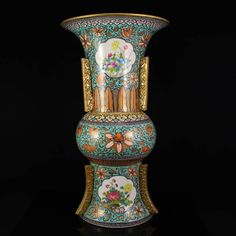 China Gilt Gold Blue Ground Famille Rose Porcelain Vase