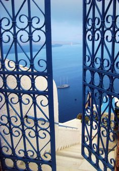 blue door to the sea, Santorini, Greece